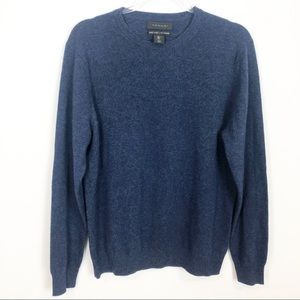 TAHARI BLUE LONG SLEEVE PULLOVER CASHMERE SWEATER